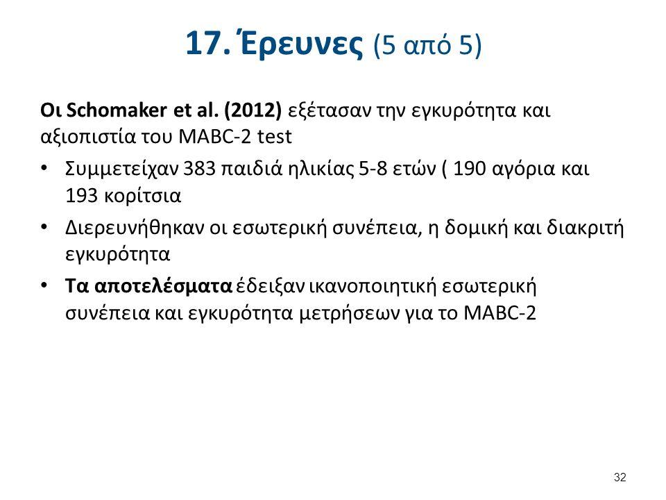 17. Έρευνες (5 από 5) Οι Schomaker et al.