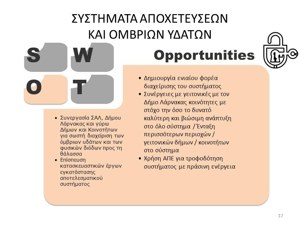 ΣΥΣΤΗΜΑΤΑ ΑΠΟΧΕΤΕΥΣΕΩΝ ΚΑΙ ΟΜΒΡΙΩΝ ΥΔΑΤΩΝ SW OT Opportunities Δημιουργία ενιαίου φορέα διαχείρισης του συστήματος Συνέργειες με γειτονικές με τον Δήμο Λάρνακας κοινότητες με στόχο την όσο το δυνατό καλύτερη και βιώσιμη ανάπτυξη στο όλο σύστημα / Ένταξη περισσότερων περιοχών / γειτονικών δήμων / κοινοτήτων στο σύστημα Χρήση ΑΠΕ για τροφοδότηση συστήματος με πράσινη ενέργεια Συνεργασία ΣΑΛ, Δήμου Λάρνακας και γύρω Δήμων και Κοινοτήτων για σωστή διαχείριση των όμβριων υδάτων και των φυσικών διόδων προς τη θάλασσα Επίσπευση κατασκευαστικών έργων εγκατάστασης αποτελεσματικού συστήματος 17