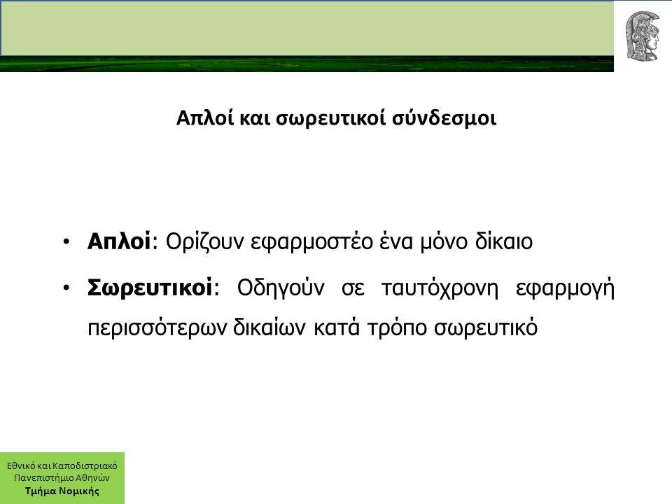 Εθνικό και Καποδιστριακό Πανεπιστήμιο Αθηνών Τμήμα Νομικής Απλοί και σωρευτικοί σύνδεσμοι Απλοί: Ορίζουν εφαρμοστέο ένα μόνο δίκαιο Σωρευτικοί: Οδηγούν σε ταυτόχρονη εφαρμογή περισσότερων δικαίων κατά τρόπο σωρευτικό