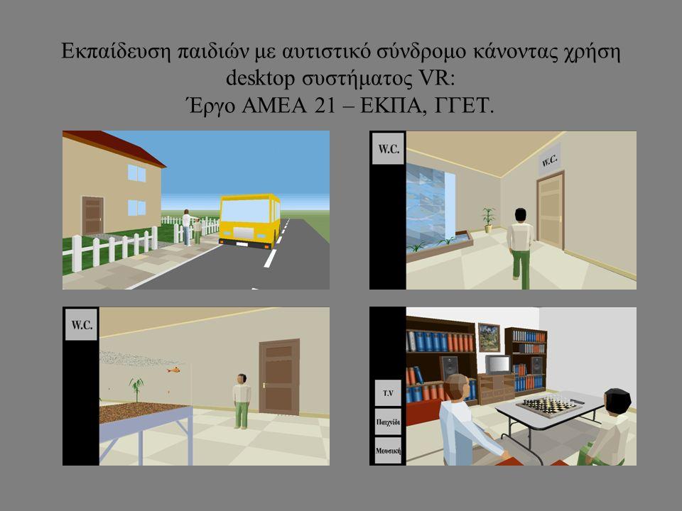Εκπαίδευση παιδιών με αυτιστικό σύνδρομο κάνοντας χρήση desktop συστήματος VR: Έργο ΑΜΕΑ 21 – ΕΚΠΑ, ΓΓΕΤ.