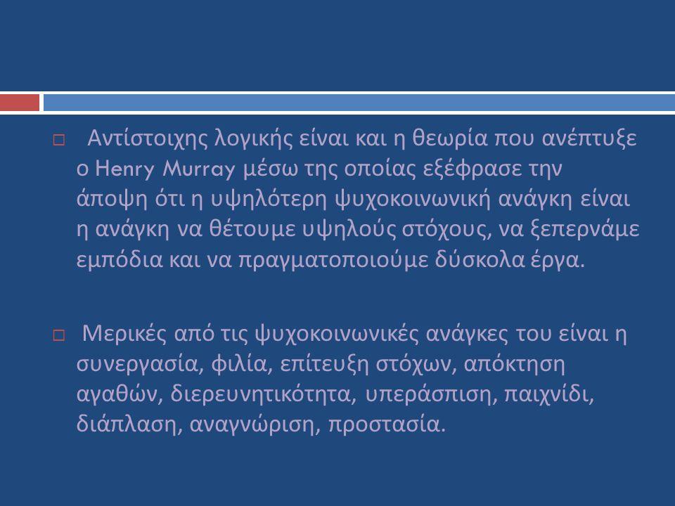  Αντίστοιχης λογικής είναι και η θεωρία που ανέπτυξε ο Henry Murray μέσω της οποίας εξέφρασε την άποψη ότι η υψηλότερη ψυχοκοινωνική ανάγκη είναι η ανάγκη να θέτουμε υψηλούς στόχους, να ξεπερνάμε εμπόδια και να πραγματοποιούμε δύσκολα έργα.