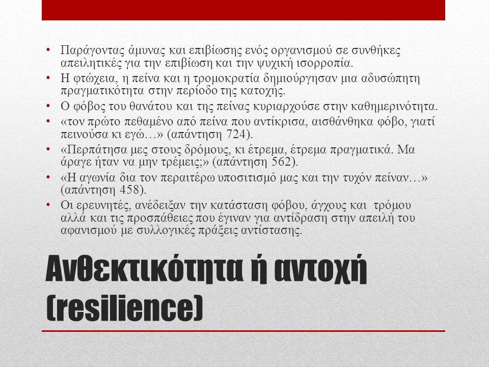 Ανθεκτικότητα ή αντοχή (resilience) Παράγοντας άμυνας και επιβίωσης ενός οργανισμού σε συνθήκες απειλητικές για την επιβίωση και την ψυχική ισορροπία.