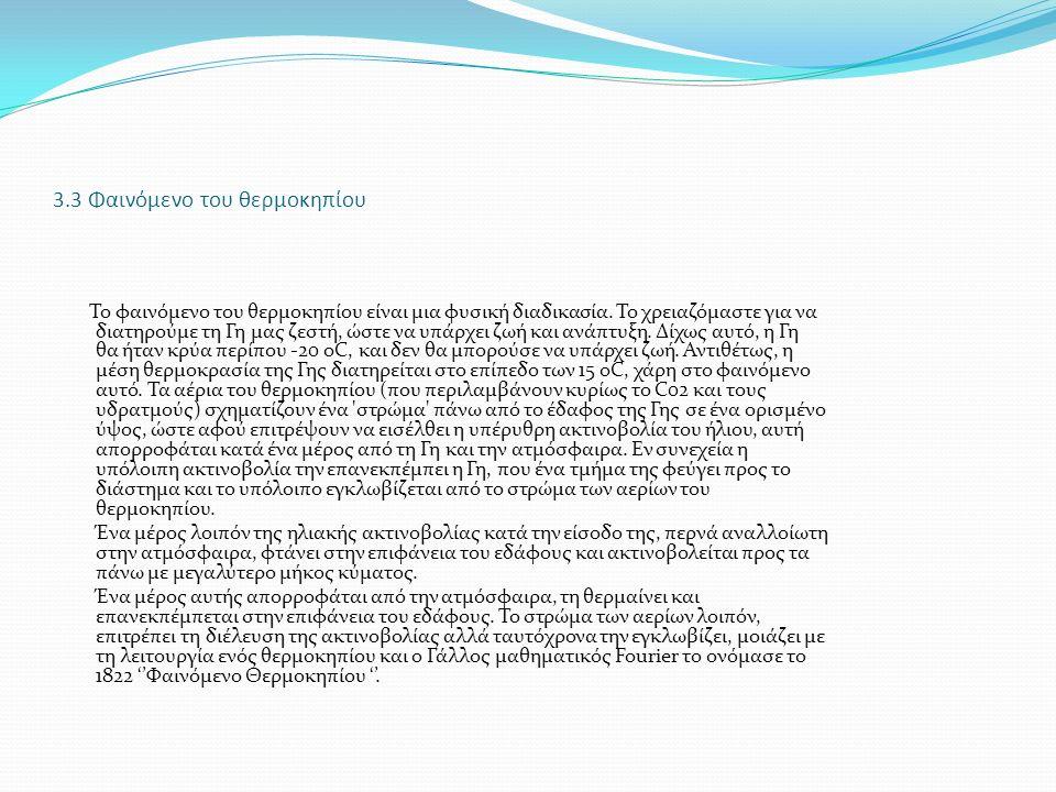 3.3 Φαινόμενο του θερμοκηπίου Το φαινόµενο του θερµοκηπίου είναι µια φυσική διαδικασία.