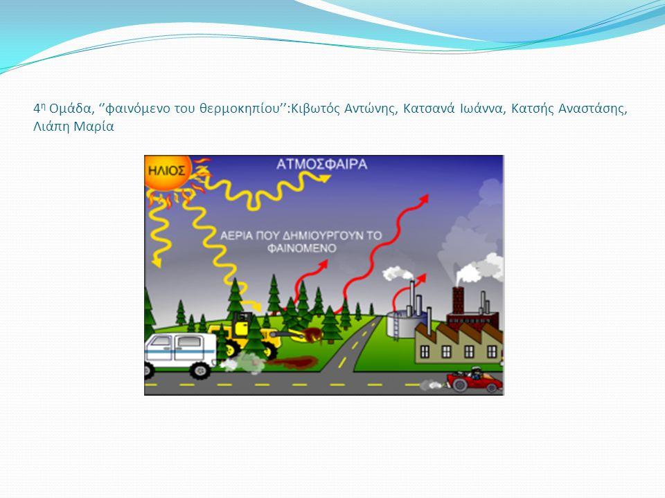 4 η Ομάδα, ''φαινόμενο του θερμοκηπίου'':Κιβωτός Αντώνης, Κατσανά Ιωάννα, Κατσής Αναστάσης, Λιάπη Μαρία
