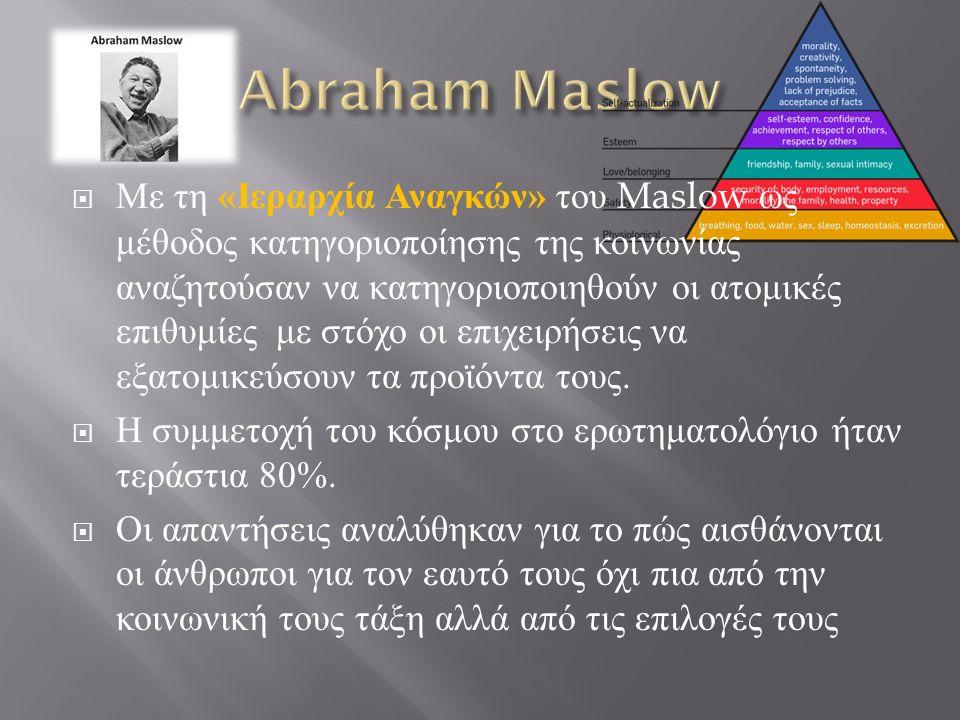  Με τη « Ιεραρχία Αναγκών » του Maslow ως μέθοδος κατηγοριοποίησης της κοινωνίας αναζητούσαν να κατηγοριοποιηθούν οι ατομικές επιθυμίες με στόχο οι επιχειρήσεις να εξατομικεύσουν τα προϊόντα τους.