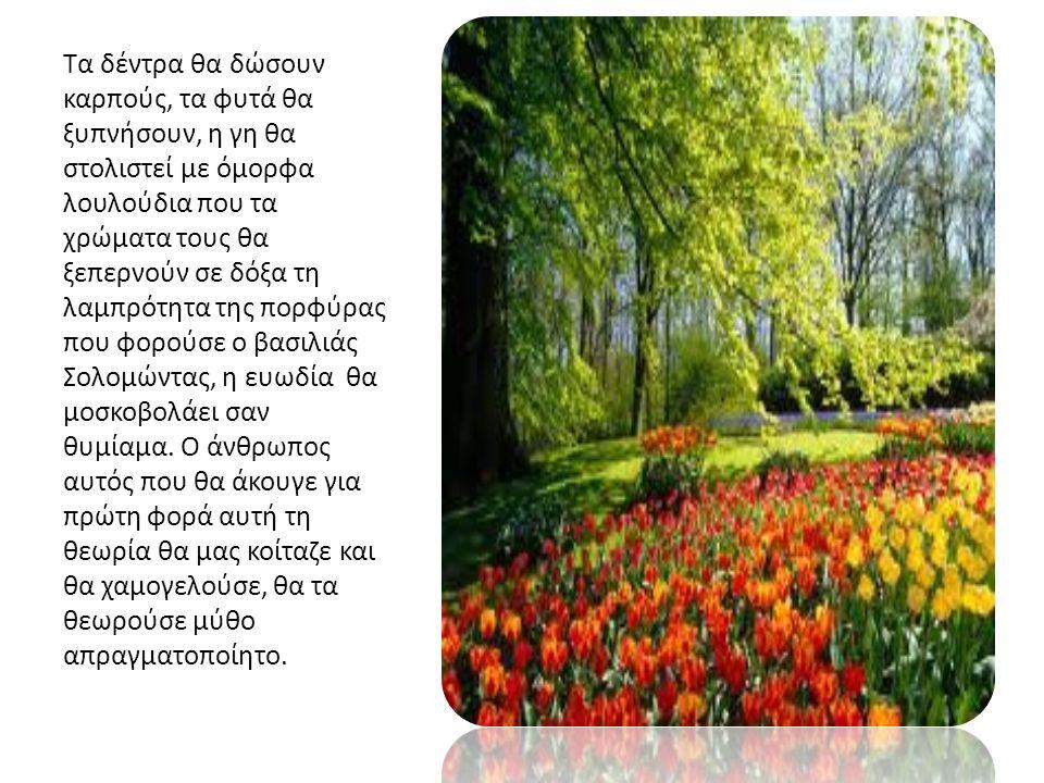 Τα δέντρα θα δώσουν καρπούς, τα φυτά θα ξυπνήσουν, η γη θα στολιστεί με όμορφα λουλούδια που τα χρώματα τους θα ξεπερνούν σε δόξα τη λαμπρότητα της πορφύρας που φορούσε ο βασιλιάς Σολομώντας, η ευωδία θα μοσκοβολάει σαν θυμίαμα.