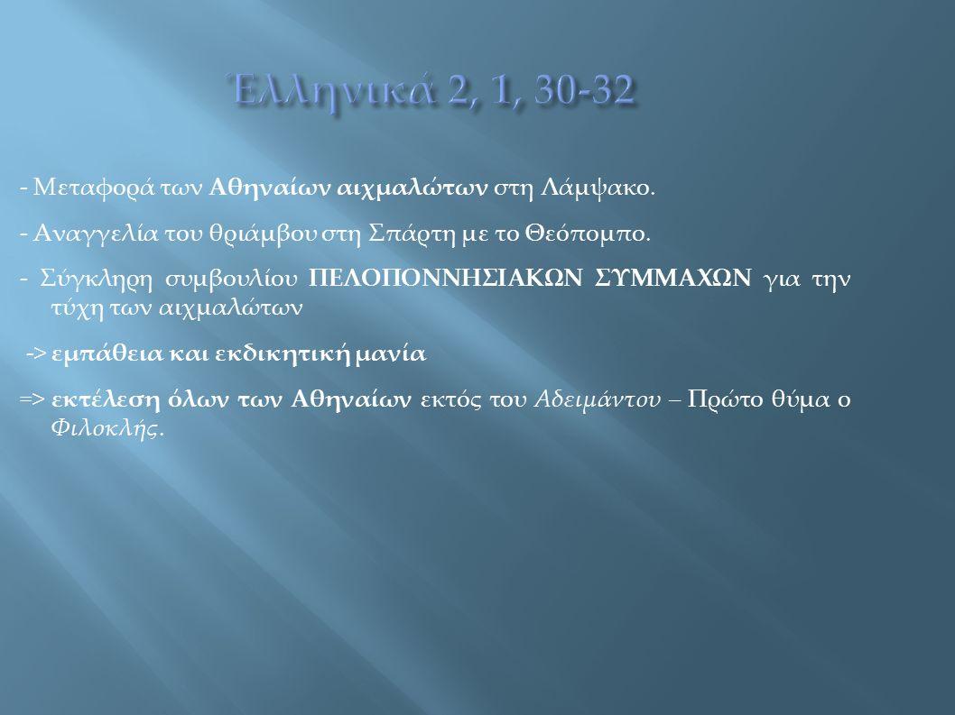 - Μεταφορά των Αθηναίων αιχμαλώτων στη Λάμψακο. - Αναγγελία του θριάμβου στη Σπάρτη με το Θεόπομπο. - Σύγκληρη συμβουλίου ΠΕΛΟΠΟΝΝΗΣΙΑΚΩΝ ΣΥΜΜΑΧΩΝ για