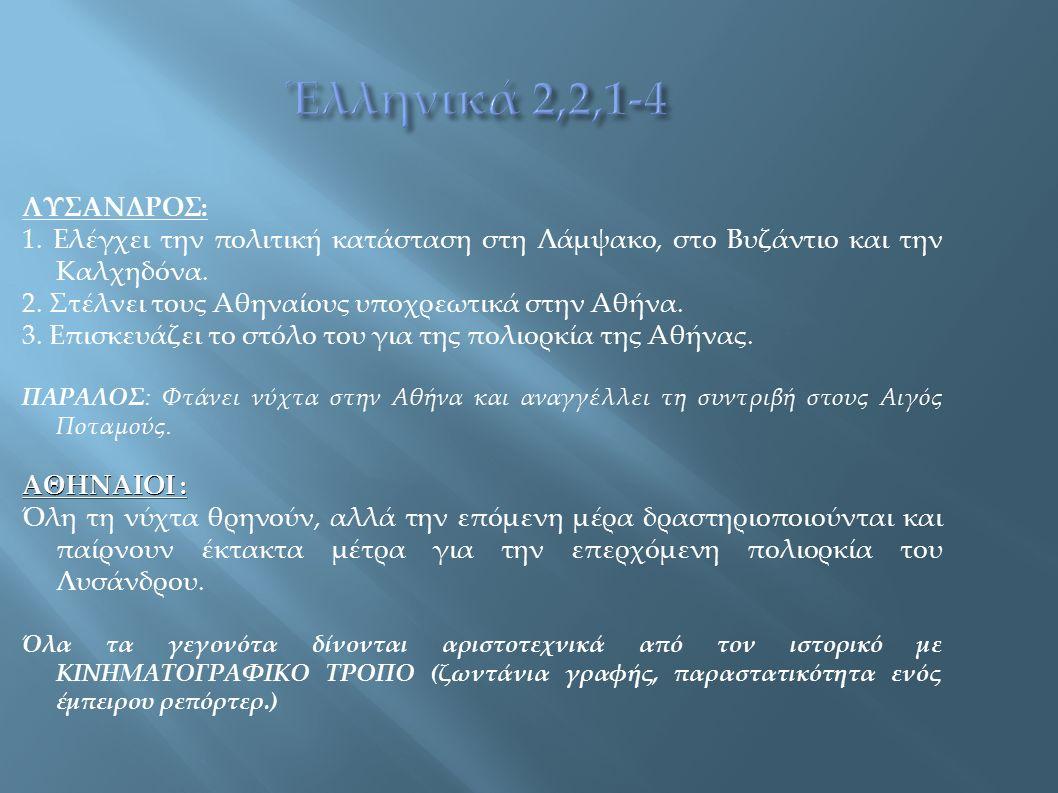ΛΥΣΑΝΔΡΟΣ: 1. Ελέγχει την πολιτική κατάσταση στη Λάμψακο, στο Βυζάντιο και την Καλχηδόνα. 2. Στέλνει τους Αθηναίους υποχρεωτικά στην Αθήνα. 3. Επισκευ