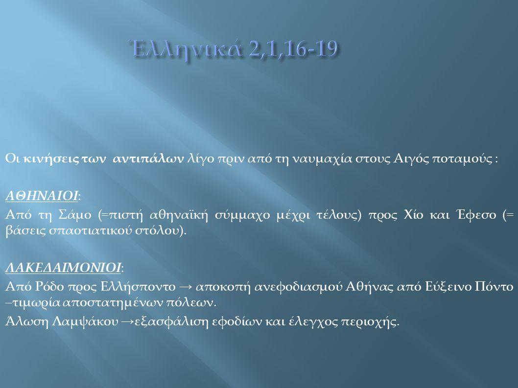 Οι κινήσεις των αντιπάλων λίγο πριν από τη ναυμαχία στους Αιγός ποταμούς : ΑΘΗΝΑΙΟΙ: Από τη Σάμο (=πιστή αθηναϊκή σύμμαχο μέχρι τέλους) προς Χίο και Έ
