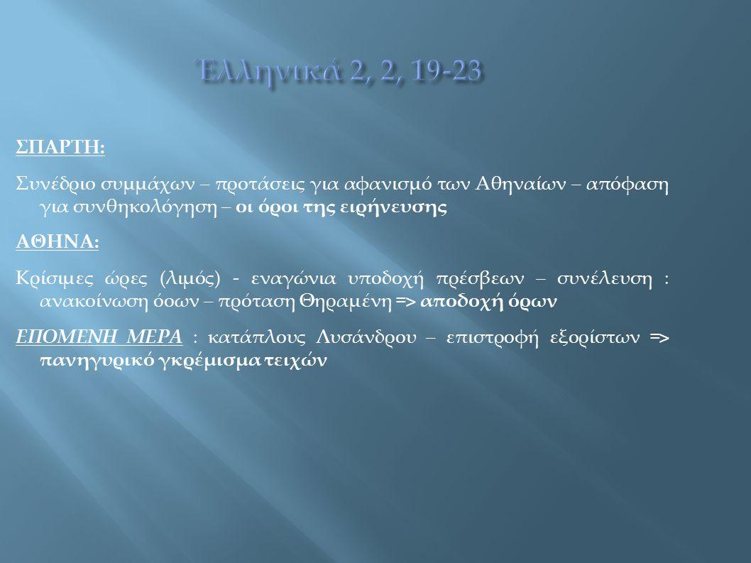 ΣΠΑΡΤΗ: Συνέδριο συμμάχων – προτάσεις για αφανισμό των Αθηναίων – απόφαση για συνθηκολόγηση – οι όροι της ειρήνευσης ΑΘΗΝΑ: Κρίσιμες ώρες (λιμός) - εν
