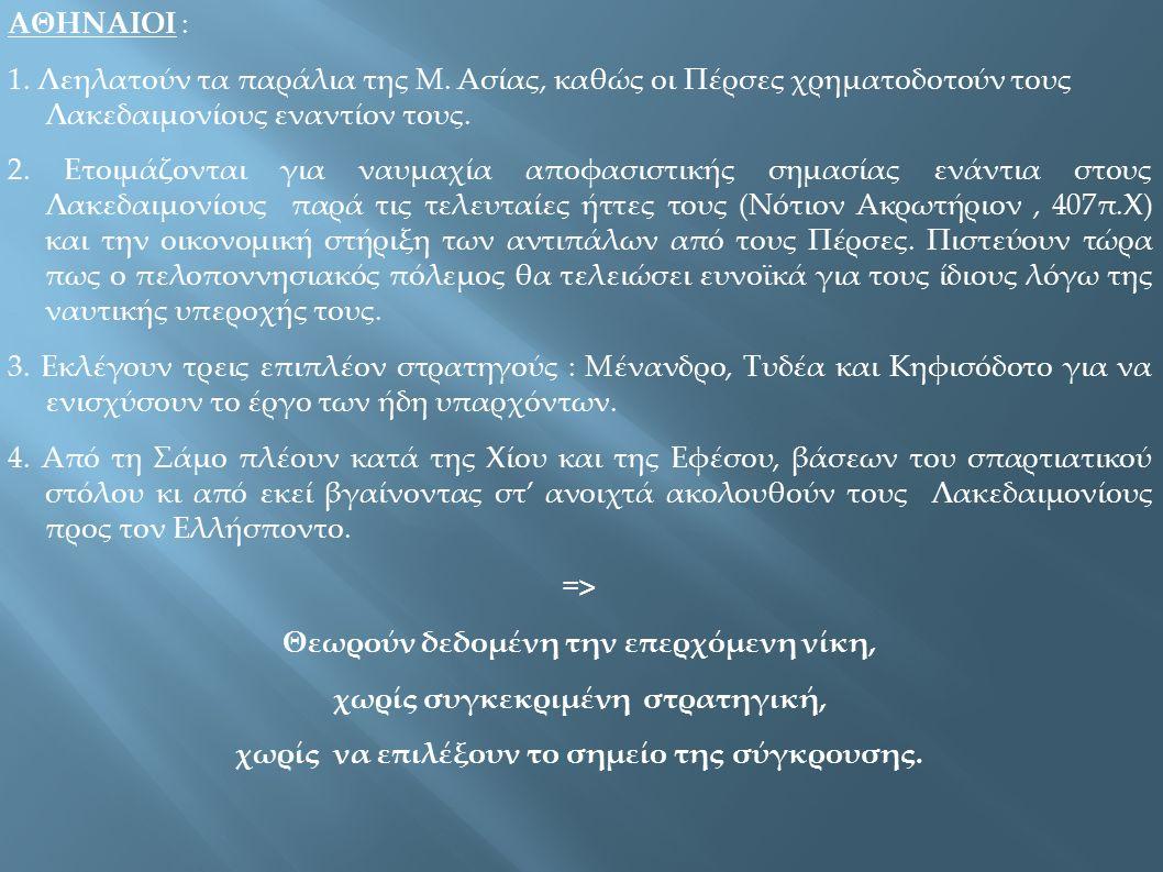 ΑΘΗΝΑΙΟΙ : 1. Λεηλατούν τα παράλια της Μ. Ασίας, καθώς οι Πέρσες χρηματοδοτούν τους Λακεδαιμονίους εναντίον τους. 2. Ετοιμάζονται για ναυμαχία αποφασι