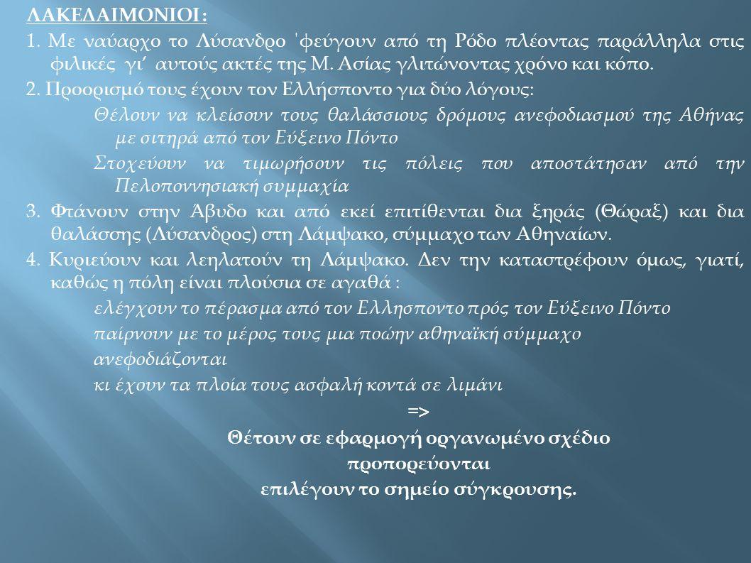 ΣΠΑΡΤΗ: Συνέδριο συμμάχων – προτάσεις για αφανισμό των Αθηναίων – απόφαση για συνθηκολόγηση – οι όροι της ειρήνευσης ΑΘΗΝΑ: Κρίσιμες ώρες (λιμός) - εναγώνια υποδοχή πρέσβεων – συνέλευση : ανακοίνωση όοων – πρόταση Θηραμένη => αποδοχή όρων ΕΠΟΜΕΝΗ ΜΕΡΑ : κατάπλους Λυσάνδρου – επιστροφή εξορίστων => πανηγυρικό γκρέμισμα τειχών