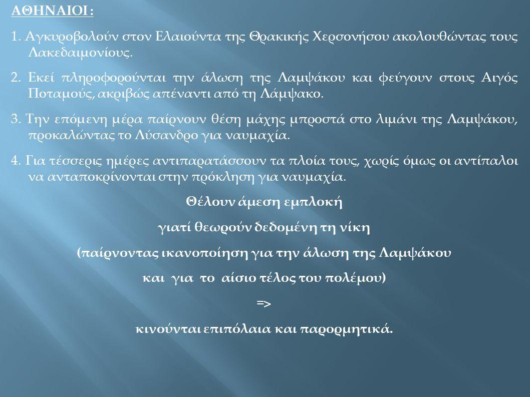ΑΘΗΝΑΙΟΙ : 1. Αγκυροβολούν στον Ελαιούντα της Θρακικής Χερσονήσου ακολουθώντας τους Λακεδαιμονίους. 2. Εκεί πληροφορούνται την άλωση της Λαμψάκου και