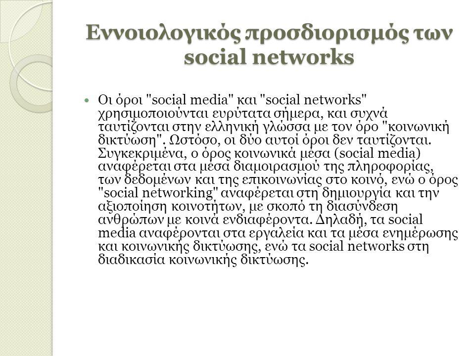 Εννοιολογικός προσδιορισμός των social networks Οι όροι social media και social networks χρησιμοποιούνται ευρύτατα σήμερα, και συχνά ταυτίζονται στην ελληνική γλώσσα με τον όρο κοινωνική δικτύωση .