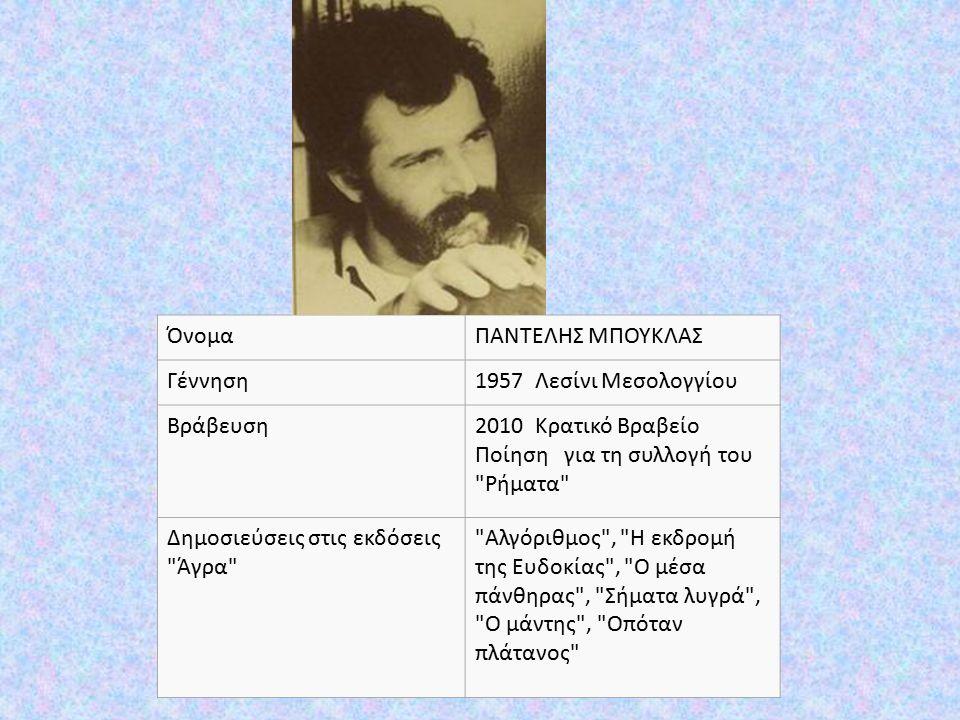 ΌνομαΠΑΝΤΕΛΗΣ ΜΠΟΥΚΛΑΣ Γέννηση1957 Λεσίνι Μεσολογγίου Βράβευση2010 Κρατικό Βραβείο Ποίηση για τη συλλογή του Ρήματα Δημοσιεύσεις στις εκδόσεις Άγρα Αλγόριθμος , Η εκδρομή της Ευδοκίας , Ο μέσα πάνθηρας , Σήματα λυγρά , Ο μάντης , Οπόταν πλάτανος
