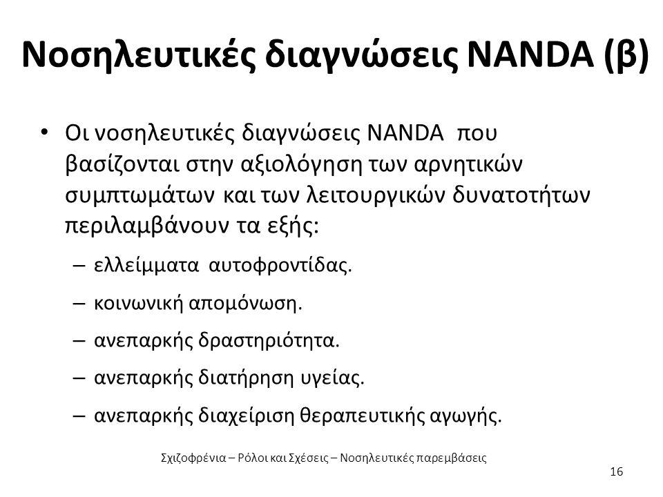 Νοσηλευτικές διαγνώσεις NANDA (β) Οι νοσηλευτικές διαγνώσεις NANDA που βασίζονται στην αξιολόγηση των αρνητικών συμπτωμάτων και των λειτουργικών δυνατοτήτων περιλαμβάνουν τα εξής: – ελλείμματα αυτοφροντίδας.