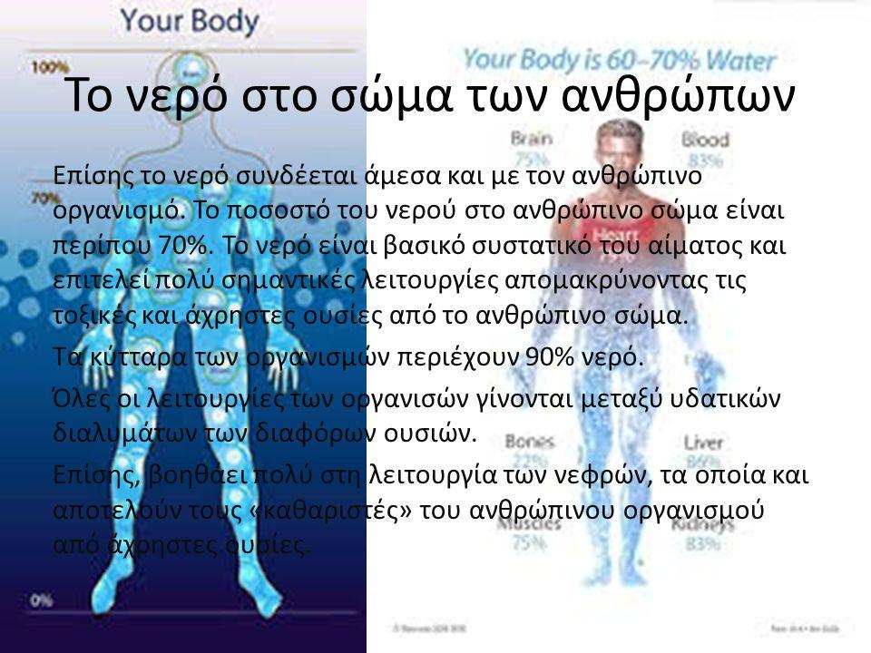 Το νερό στο σώμα των ανθρώπων Επίσης το νερό συνδέεται άμεσα και με τον ανθρώπινο οργανισμό. Το ποσοστό του νερού στο ανθρώπινο σώμα είναι περίπου 70%