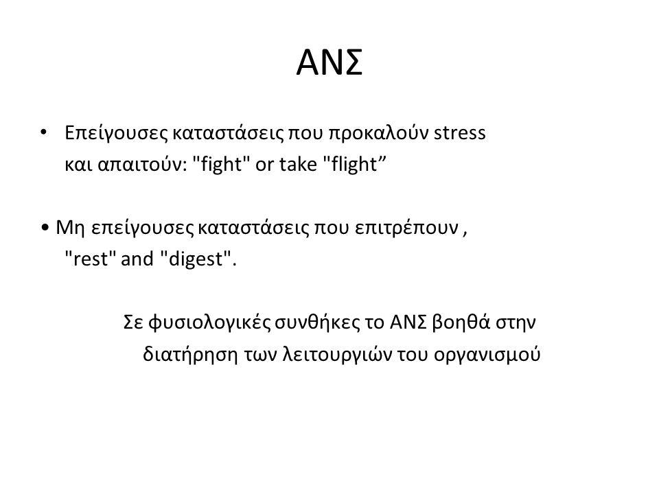 ΑΝΣ Επείγουσες καταστάσεις που προκαλούν stress και απαιτούν: fight or take flight Μη επείγουσες καταστάσεις που επιτρέπουν, rest and digest .