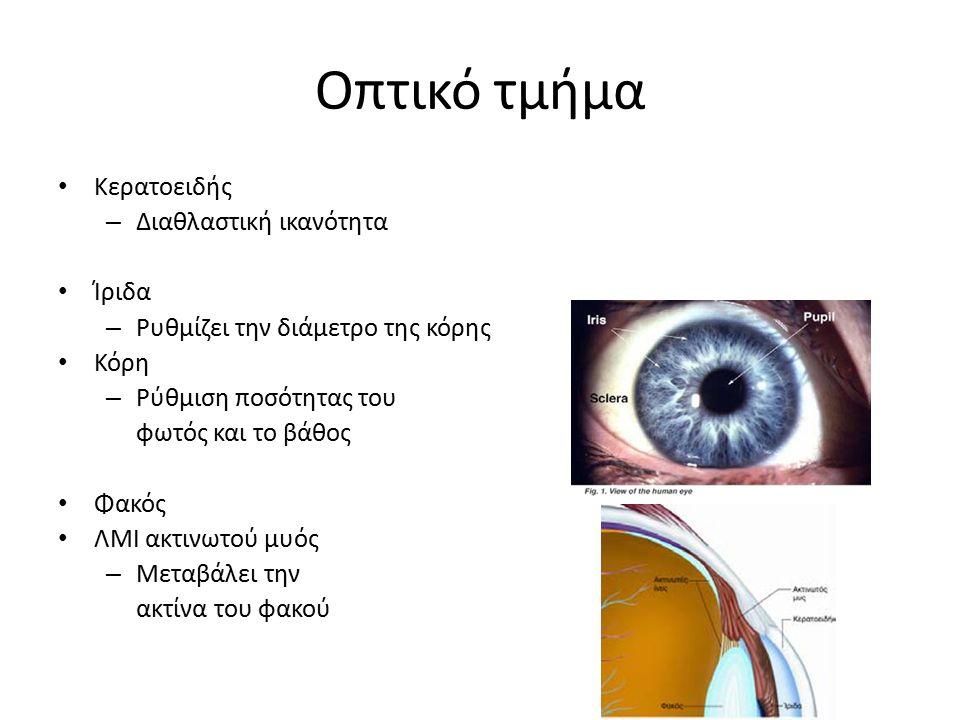 Οπτικό τμήμα Κερατοειδής – Διαθλαστική ικανότητα Ίριδα – Ρυθμίζει την διάμετρο της κόρης Κόρη – Ρύθμιση ποσότητας του φωτός και το βάθος Φακός ΛΜΙ ακτ