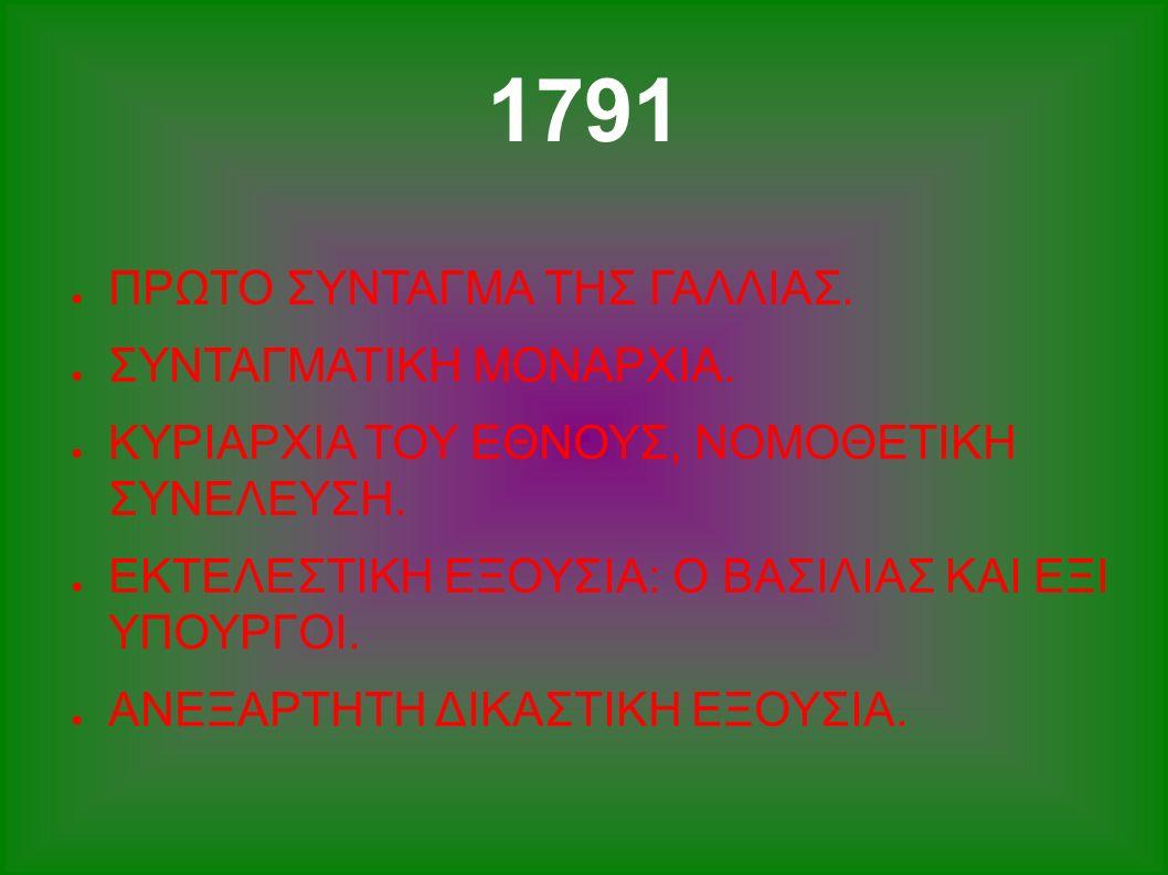 1791 ● ΠΡΩΤΟ ΣΥΝΤΑΓΜΑ ΤΗΣ ΓΑΛΛΙΑΣ. ● ΣΥΝΤΑΓΜΑΤΙΚΗ ΜΟΝΑΡΧΙΑ. ● ΚΥΡΙΑΡΧΙΑ ΤΟΥ ΕΘΝΟΥΣ, ΝΟΜΟΘΕΤΙΚΗ ΣΥΝΕΛΕΥΣΗ. ● ΕΚΤΕΛΕΣΤΙΚΗ ΕΞΟΥΣΙΑ: Ο ΒΑΣΙΛΙΑΣ ΚΑΙ ΕΞΙ ΥΠ