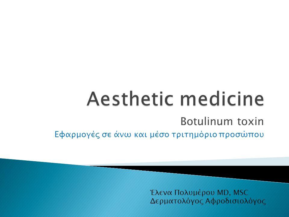 Botulinum toxin Εφαρμογές σε άνω και μέσο τριτημόριο προσώπου Έλενα Πολυμέρου MD, MSC Δερματολόγος Αφροδισιολόγος