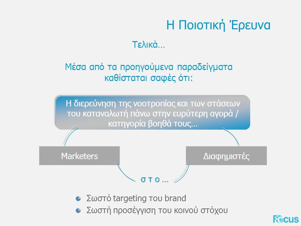 Σωστό targeting του brand Σωστή προσέγγιση του κοινού στόχου Η Ποιοτική Έρευνα Τελικά… Μέσα από τα προηγούμενα παραδείγματα καθίσταται σαφές ότι: Η διερεύνηση της νοοτροπίας και των στάσεων του καταναλωτή πάνω στην ευρύτερη αγορά / κατηγορία βοηθά τους… MarketersΔιαφημιστές σ τ ο …