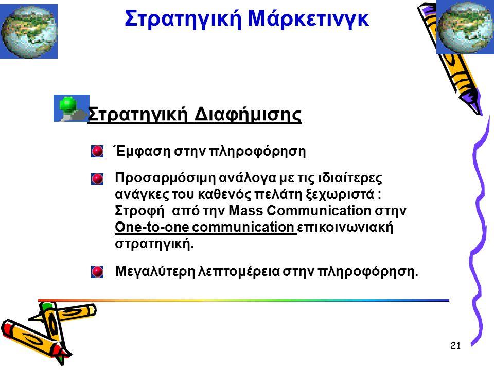 Στρατηγική Διαφήμισης ΄Εμφαση στην πληροφόρηση Προσαρμόσιμη ανάλογα με τις ιδιαίτερες ανάγκες του καθενός πελάτη ξεχωριστά : Στροφή από την Mass Communication στην Οne-to-one communication επικοινωνιακή στρατηγική.