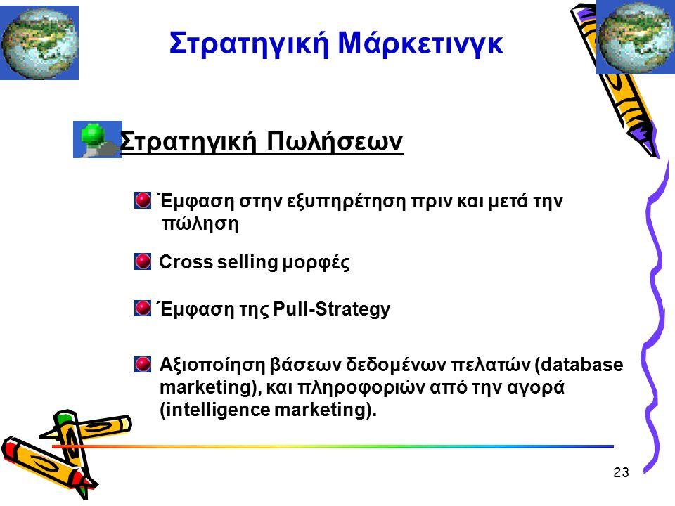 Στρατηγική Πωλήσεων Έμφαση στην εξυπηρέτηση πριν και μετά την πώληση Cross selling μορφές Έμφαση της Pull-Strategy Στρατηγική Μάρκετινγκ Αξιοποίηση βάσεων δεδομένων πελατών (database marketing), και πληροφοριών από την αγορά (intelligence marketing).