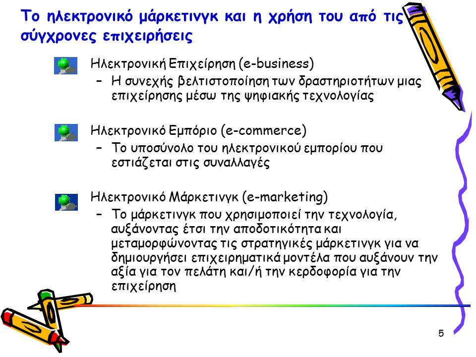 Ηλεκτρονική Επιχείρηση (e-business) –Η συνεχής βελτιστοποίηση των δραστηριοτήτων μιας επιχείρησης μέσω της ψηφιακής τεχνολογίας Ηλεκτρονικό Εμπόριο (e-commerce) –Το υποσύνολο του ηλεκτρονικού εμπορίου που εστιάζεται στις συναλλαγές Ηλεκτρονικό Μάρκετινγκ (e-marketing) –To μάρκετινγκ που χρησιμοποιεί την τεχνολογία, αυξάνοντας έτσι την αποδοτικότητα και μεταμορφώνοντας τις στρατηγικές μάρκετινγκ για να δημιουργήσει επιχειρηματικά μοντέλα που αυξάνουν την αξία για τον πελάτη και/ή την κερδοφορία για την επιχείρηση Το ηλεκτρονικό μάρκετινγκ και η χρήση του από τις σύγχρονες επιχειρήσεις 5