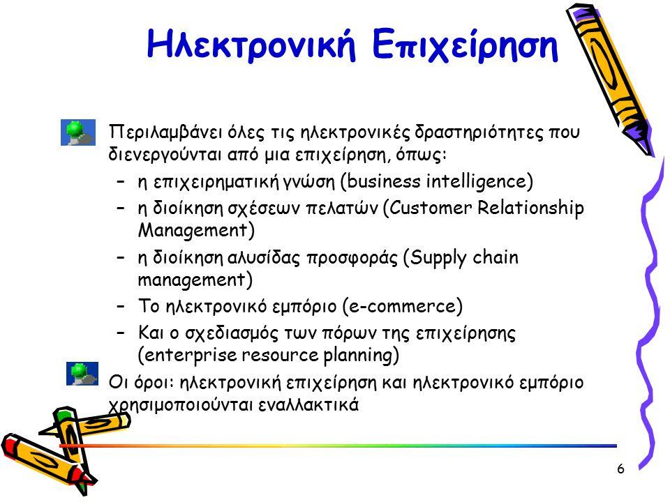 Hλεκτρονική Επιχείρηση Περιλαμβάνει όλες τις ηλεκτρονικές δραστηριότητες που διενεργούνται από μια επιχείρηση, όπως: –η επιχειρηματική γνώση (business intelligence) –η διοίκηση σχέσεων πελατών (Customer Relationship Management) –η διοίκηση αλυσίδας προσφοράς (Supply chain management) –To ηλεκτρονικό εμπόριο (e-commerce) –Και ο σχεδιασμός των πόρων της επιχείρησης (enterprise resource planning) Oι όροι: ηλεκτρονική επιχείρηση και ηλεκτρονικό εμπόριο χρησιμοποιούνται εναλλακτικά 6