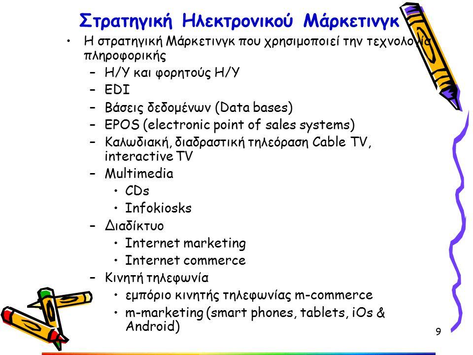 Στρατηγική Ηλεκτρονικού Μάρκετινγκ Η στρατηγική Μάρκετινγκ που χρησιμοποιεί την τεχνολογία πληροφορικής –Η/Υ και φορητούς Η/Υ –EDI –Βάσεις δεδομένων (Data bases) –EPOS (electronic point of sales systems) –Καλωδιακή, διαδραστική τηλεόραση Cable TV, interactive TV –Multimedia CDs Infokiosks –Διαδίκτυο Internet marketing Internet commerce –Kινητή τηλεφωνία εμπόριο κινητής τηλεφωνίας m-commerce m-marketing (smart phones, tablets, iOs & Android) 9