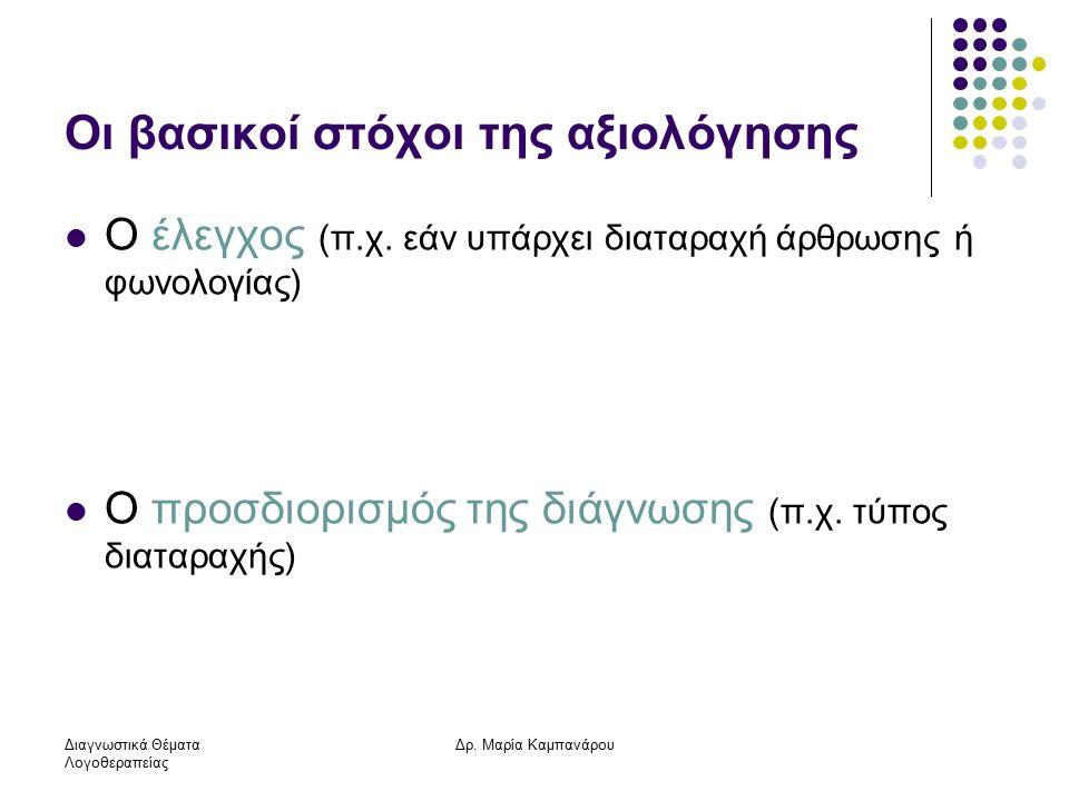 Διαγνωστικά Θέματα Λογοθεραπείας Δρ. Μαρία Καμπανάρου Οι βασικοί στόχοι της αξιολόγησης Ο έλεγχος (π.χ. εάν υπάρχει διαταραχή άρθρωσης ή φωνολογίας) Ο