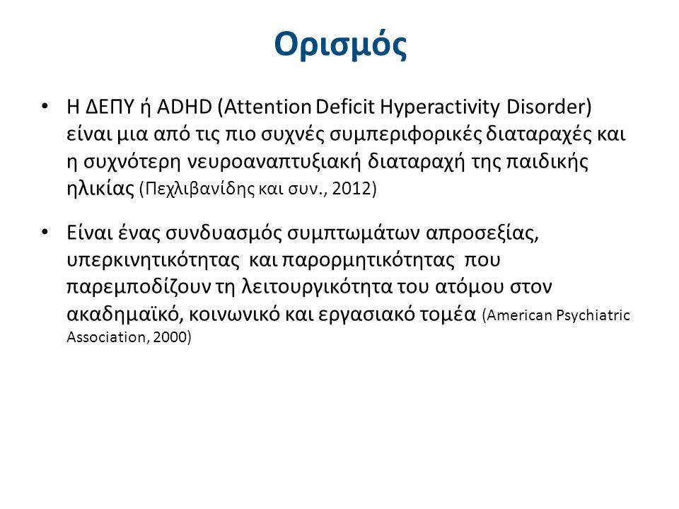 Η ΔΕΠΥ στο μεγαλύτερο ποσοστό των περιπτώσεων συνοδεύεται από: Ήπιες νευρολογικές ενδείξεις (soft signs) Ανώμαλο ηλεκτροεγκεφαλογράφημα ( 50% σε σύγκριση με τον τυπικό πληθυσμό) Αδεξιότητα (καθόλου επιδέξιο στη λεπτή κινητικότητα) Μαθησιακές δυσκολίες Παρορμητικότητα και ανελαστικότητα στη σκέψη Ελλιπείς κοινωνικές δεξιότητες, κρίσεις οργής, πείσμα, αρνητισμό, επιθετικότητα, χαμηλή αυτοεκτίμηση, έλλειψη πειθαρχίας Συναισθηματική αστάθεια (Ασωνίτου, 2007) (American Psychiatric Association, 2013) Συνοδά χαρακτηριστικά