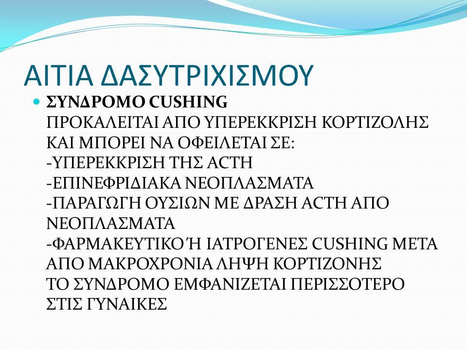 ΑΙΤΙΑ ΔΑΣΥΤΡΙΧΙΣΜΟΥ ΣΥΝΔΡΟΜΟ CUSHING ΠΡΟΚΑΛΕΙΤΑΙ ΑΠΟ ΥΠΕΡΕΚΚΡΙΣΗ ΚΟΡΤΙΖΟΛΗΣ ΚΑΙ ΜΠΟΡΕΙ ΝΑ ΟΦΕΙΛΕΤΑΙ ΣΕ: -ΥΠΕΡΕΚΚΡΙΣΗ ΤΗΣ ACTH -ΕΠΙΝΕΦΡΙΔΙΑΚΑ ΝΕΟΠΛΑΣΜΑΤΑ -ΠΑΡΑΓΩΓΗ ΟΥΣΙΩΝ ΜΕ ΔΡΑΣΗ ACTH ΑΠΟ ΝΕΟΠΛΑΣΜΑΤΑ -ΦΑΡΜΑΚΕΥΤΙΚΟ Ή ΙΑΤΡΟΓΕΝΕΣ CUSHING ΜΕΤΑ ΑΠΟ ΜΑΚΡΟΧΡΟΝΙΑ ΛΗΨΗ ΚΟΡΤΙΖΟΝΗΣ ΤΟ ΣΥΝΔΡΟΜΟ ΕΜΦΑΝΙΖΕΤΑΙ ΠΕΡΙΣΣΟΤΕΡΟ ΣΤΙΣ ΓΥΝΑΙΚΕΣ