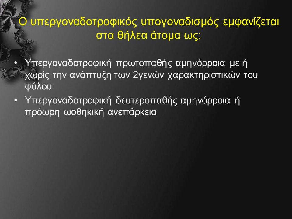 Κλινική εικόνα Στην εφηβεία: Υπέρταση, υποκαλιαιμία Θήλεα: –πρωτοπαθή αμηνόρροια (με παιδομορφία) στα θήλεα Άρρενες: –ψευδερμαφροδιτισμός (46 XY) διφυλομορφία- φαινότυπος θήλεως
