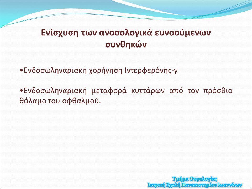 Ενδοσωληναριακή χορήγηση Ιντερφερόνης-γ Ενδοσωληναριακή μεταφορά κυττάρων από τον πρόσθιο θάλαμο του οφθαλμού.
