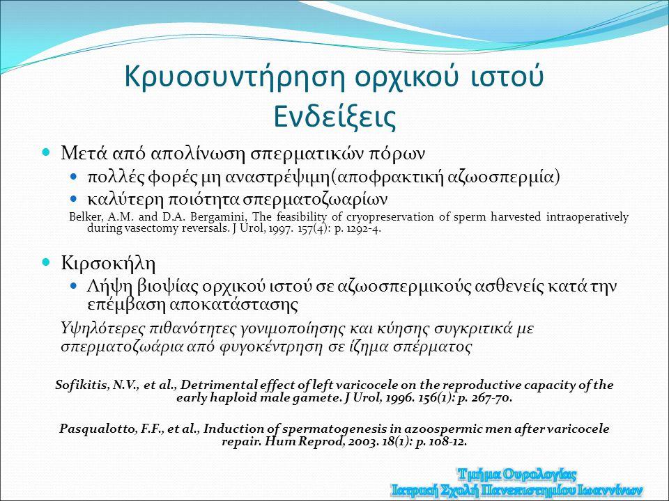 Κρυοσυντήρηση ορχικού ιστού Eνδείξεις Μετά από απολίνωση σπερματικών πόρων πολλές φορές μη αναστρέψιμη(αποφρακτική αζωοσπερμία) καλύτερη ποιότητα σπερματοζωαρίων Belker, A.M.