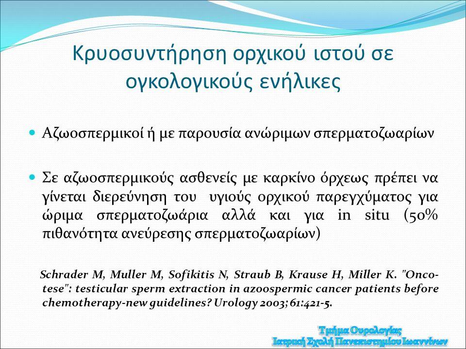 Κρυοσυντήρηση ορχικού ιστού σε ογκολογικούς ενήλικες Αζωοσπερμικοί ή με παρουσία ανώριμων σπερματοζωαρίων Σε αζωοσπερμικούς ασθενείς με καρκίνο όρχεως πρέπει να γίνεται διερεύνηση του υγιούς ορχικού παρεγχύματος για ώριμα σπερματοζωάρια αλλά και για in situ (50% πιθανότητα ανεύρεσης σπερματοζωαρίων) Schrader M, Muller M, Sofikitis N, Straub B, Krause H, Miller K.