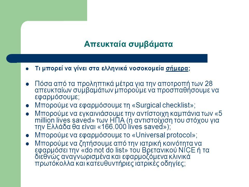 Απευκταία συμβάματα Τι μπορεί να γίνει στα ελληνικά νοσοκομεία σήμερα; Πόσα από τα προληπτικά μέτρα για την αποτροπή των 28 απευκταίων συμβαμάτων μπορούμε να προσπαθήσουμε να εφαρμόσουμε; Μπορούμε να εφαρμόσουμε τη «Surgical checklist»; Μπορούμε να εγκαινιάσουμε την αντίστοιχη καμπάνια των «5 million lives saved» των ΗΠΑ (η αντιστοίχιση του στόχου για την Ελλάδα θα είναι «166.000 lives saved»); Μπορούμε να εφαρμόσουμε το «Universal protocol»; Μπορούμε να ζητήσουμε από την ιατρική κοινότητα να εφαρμόσει την «do not do list» του Βρετανικού NICE ή τα διεθνώς αναγνωρισμένα και εφαρμοζόμενα κλινικά πρωτόκολλα και κατευθυντήριες ιατρικές οδηγίες;