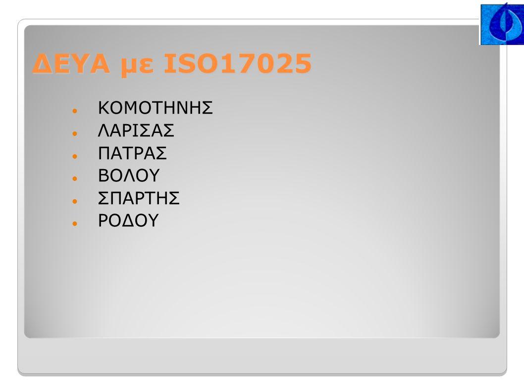 ΔΕΥΑ με ISO17025 ΚΟΜΟΤΗΝΗΣ ΛΑΡΙΣΑΣ ΠΑΤΡΑΣ ΒΟΛΟΥ ΣΠΑΡΤΗΣ ΡΟΔΟΥ