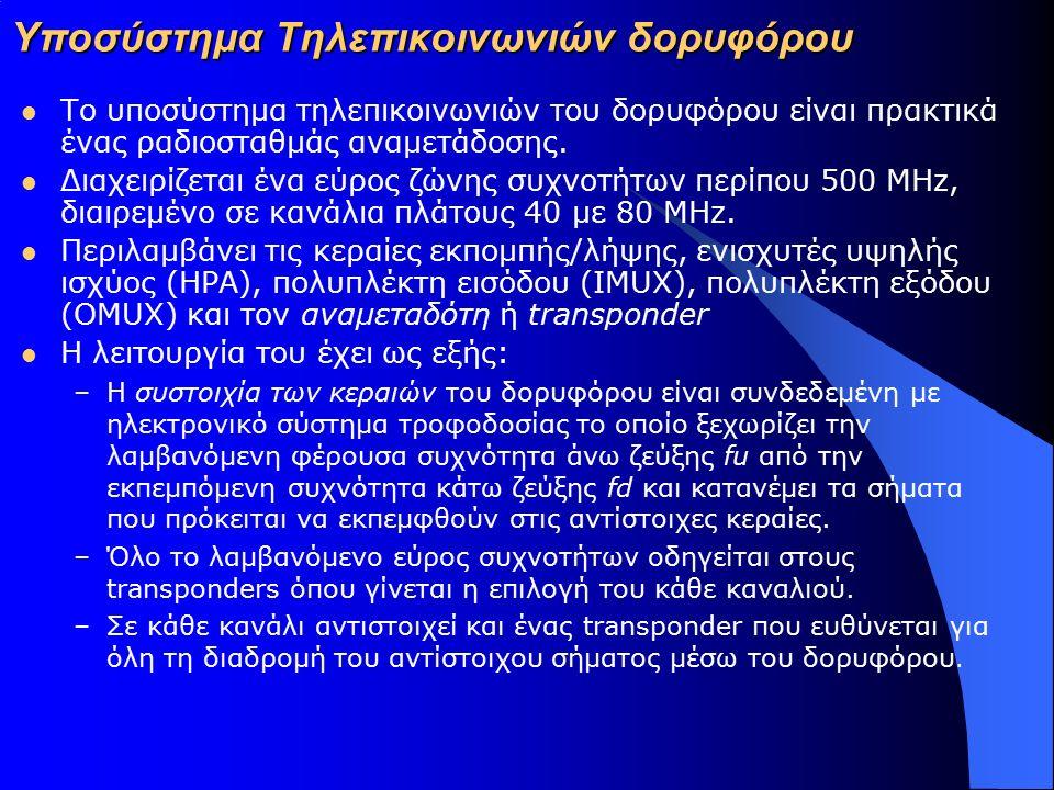 Υποσύστημα Τηλεπικοινωνιών δορυφόρου Το υποσύστημα τηλεπικοινωνιών του δορυφόρου είναι πρακτικά ένας ραδιοσταθμάς αναμετάδοσης. Διαχειρίζεται ένα εύρο