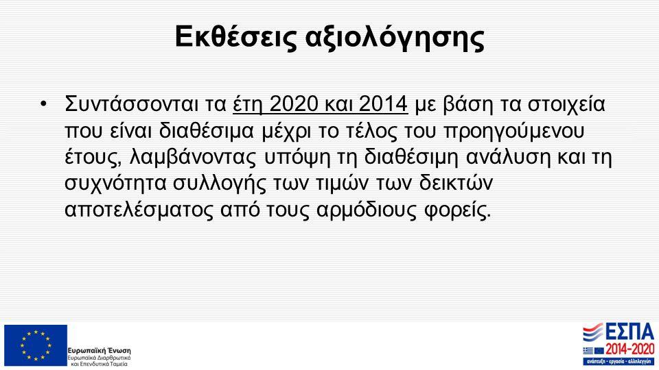 Εκθέσεις αξιολόγησης Συντάσσονται τα έτη 2020 και 2014 με βάση τα στοιχεία που είναι διαθέσιμα μέχρι το τέλος του προηγούμενου έτους, λαμβάνοντας υπόψ
