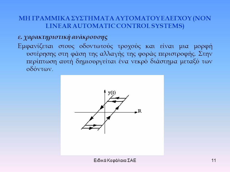 Ειδικά Κεφάλαια ΣΑΕ11 ΜΗ ΓΡΑΜΜΙΚΑ ΣΥΣΤΗΜΑΤΑ ΑΥΤΟΜΑΤΟΥ ΕΛΕΓΧΟΥ (NON LINEAR AUTOMATIC CONTROL SYSTEMS) ε.