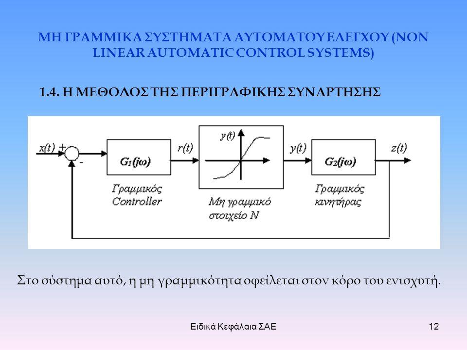 Ειδικά Κεφάλαια ΣΑΕ12 ΜΗ ΓΡΑΜΜΙΚΑ ΣΥΣΤΗΜΑΤΑ ΑΥΤΟΜΑΤΟΥ ΕΛΕΓΧΟΥ (NON LINEAR AUTOMATIC CONTROL SYSTEMS) 1.4.