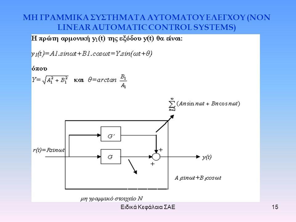 Ειδικά Κεφάλαια ΣΑΕ15 ΜΗ ΓΡΑΜΜΙΚΑ ΣΥΣΤΗΜΑΤΑ ΑΥΤΟΜΑΤΟΥ ΕΛΕΓΧΟΥ (NON LINEAR AUTOMATIC CONTROL SYSTEMS)