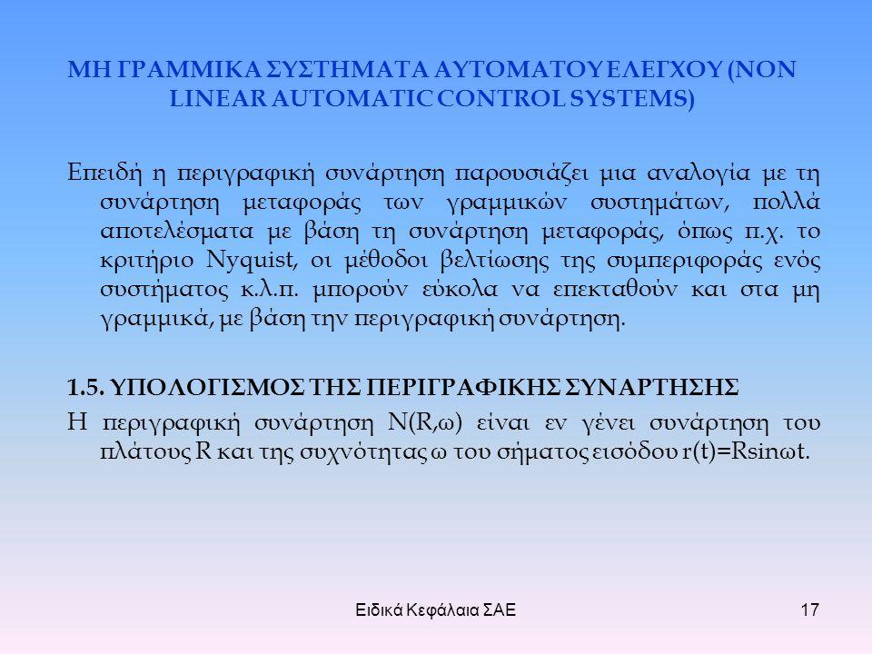 Ειδικά Κεφάλαια ΣΑΕ17 ΜΗ ΓΡΑΜΜΙΚΑ ΣΥΣΤΗΜΑΤΑ ΑΥΤΟΜΑΤΟΥ ΕΛΕΓΧΟΥ (NON LINEAR AUTOMATIC CONTROL SYSTEMS) Επειδή η περιγραφική συνάρτηση παρουσιάζει μια αναλογία με τη συνάρτηση μεταφοράς των γραμμικών συστημάτων, πολλά αποτελέσματα με βάση τη συνάρτηση μεταφοράς, όπως π.χ.