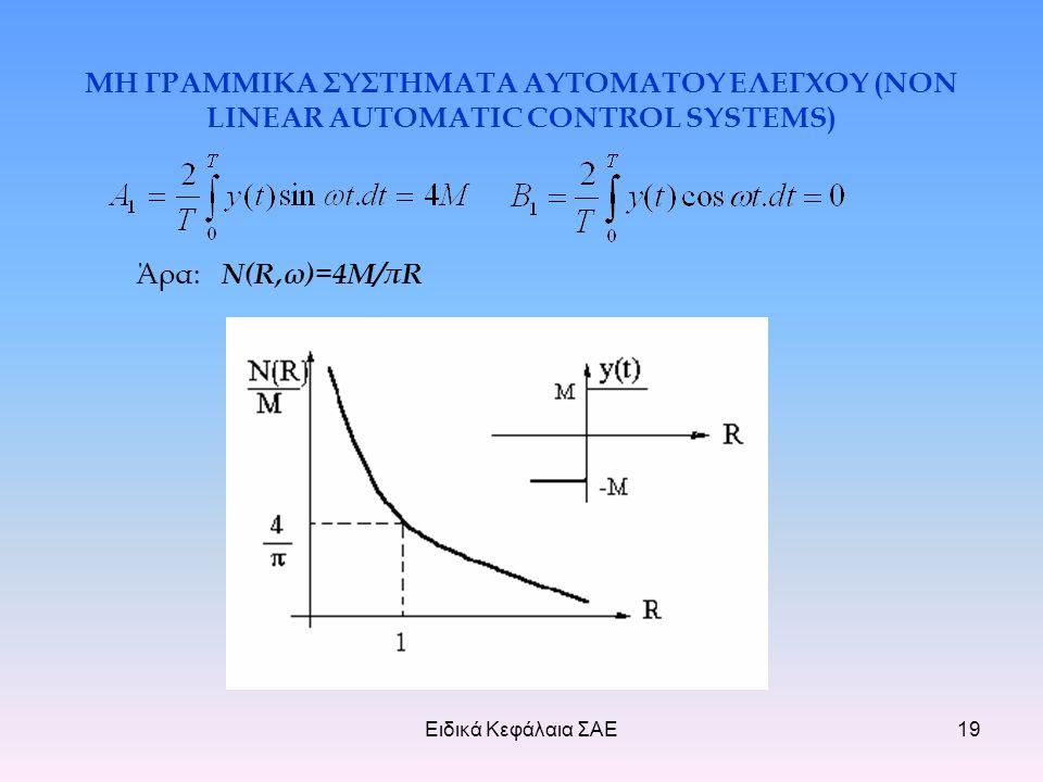 Ειδικά Κεφάλαια ΣΑΕ19 ΜΗ ΓΡΑΜΜΙΚΑ ΣΥΣΤΗΜΑΤΑ ΑΥΤΟΜΑΤΟΥ ΕΛΕΓΧΟΥ (NON LINEAR AUTOMATIC CONTROL SYSTEMS) Άρα: Ν(R,ω)=4Μ/πR