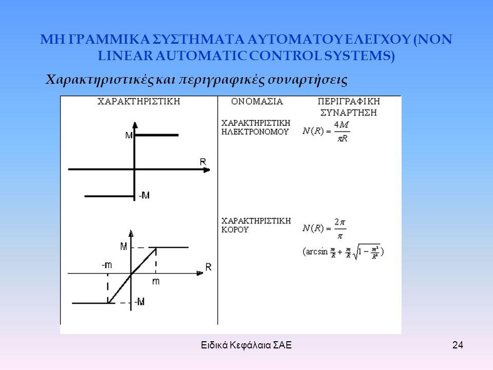 Ειδικά Κεφάλαια ΣΑΕ24 ΜΗ ΓΡΑΜΜΙΚΑ ΣΥΣΤΗΜΑΤΑ ΑΥΤΟΜΑΤΟΥ ΕΛΕΓΧΟΥ (NON LINEAR AUTOMATIC CONTROL SYSTEMS) Χαρακτηριστικές και περιγραφικές συναρτήσεις