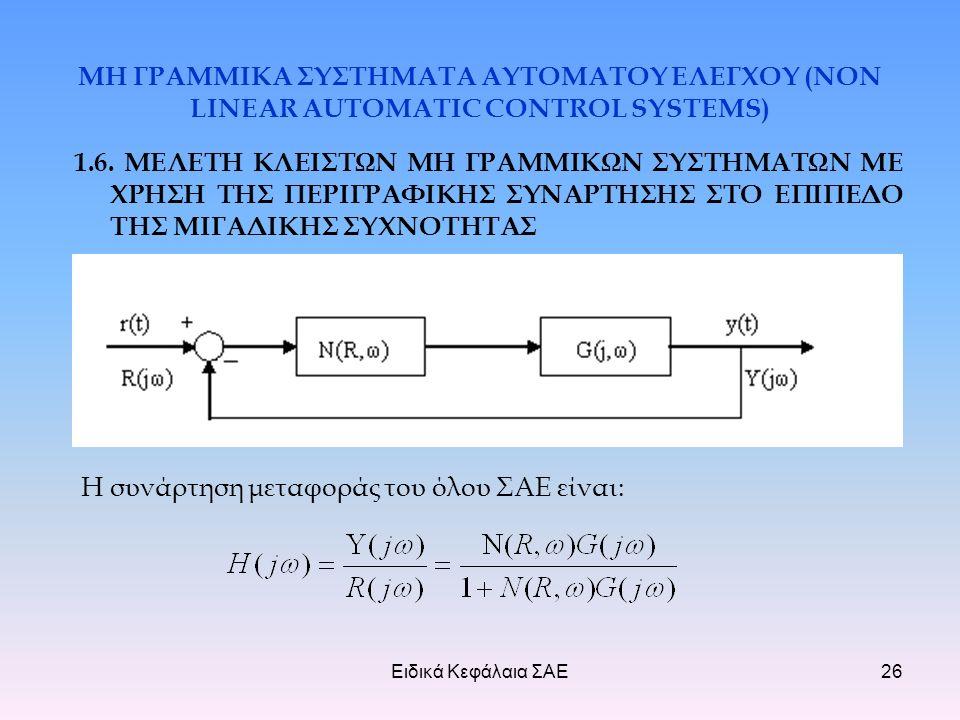 Ειδικά Κεφάλαια ΣΑΕ26 ΜΗ ΓΡΑΜΜΙΚΑ ΣΥΣΤΗΜΑΤΑ ΑΥΤΟΜΑΤΟΥ ΕΛΕΓΧΟΥ (NON LINEAR AUTOMATIC CONTROL SYSTEMS) 1.6.