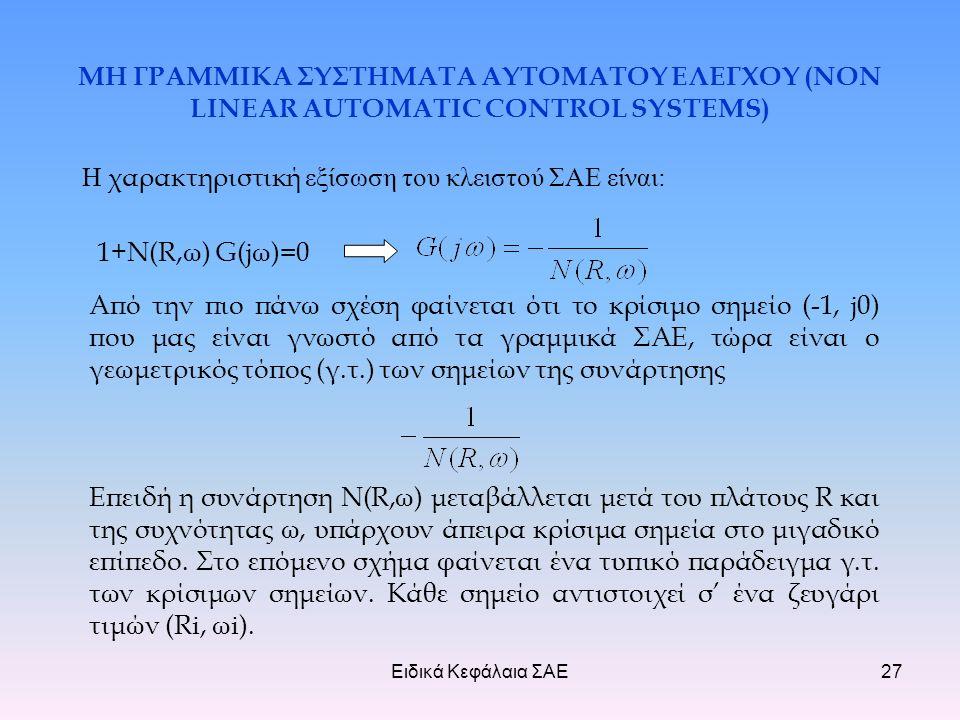 Ειδικά Κεφάλαια ΣΑΕ27 ΜΗ ΓΡΑΜΜΙΚΑ ΣΥΣΤΗΜΑΤΑ ΑΥΤΟΜΑΤΟΥ ΕΛΕΓΧΟΥ (NON LINEAR AUTOMATIC CONTROL SYSTEMS) Η χαρακτηριστική εξίσωση του κλειστού ΣΑΕ είναι: 1+Ν(R,ω) G(jω)=0 Από την πιο πάνω σχέση φαίνεται ότι το κρίσιμο σημείο (-1, j0) που μας είναι γνωστό από τα γραμμικά ΣΑΕ, τώρα είναι ο γεωμετρικός τόπος (γ.τ.) των σημείων της συνάρτησης Επειδή η συνάρτηση N(R,ω) μεταβάλλεται μετά του πλάτους R και της συχνότητας ω, υπάρχουν άπειρα κρίσιμα σημεία στο μιγαδικό επίπεδο.
